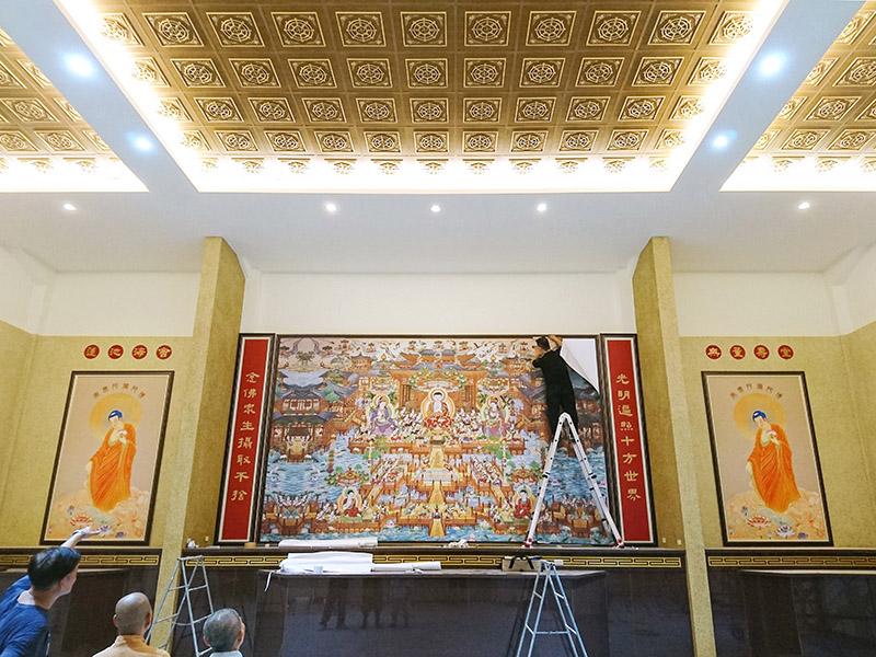 大圖輸出應用 | 淨土宗-關廟淨和寺- 裱框 懸掛與噴圖施工